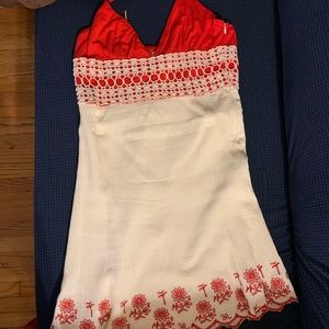 Lace detail red summer dress
